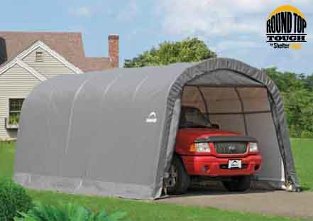 "12�20�8 Round Top Shelter, 1-3/8"" 6-Rib Frame, Gray Cover"